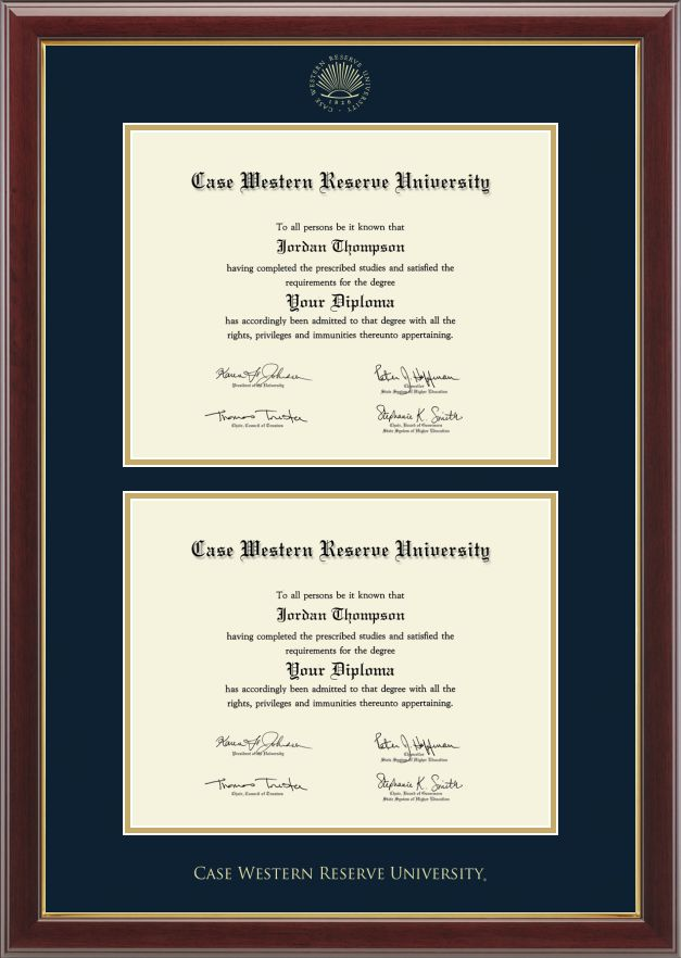 Case Western Reserve University - Double Document Diploma Frame in Gallery with Navy and Gold Mats