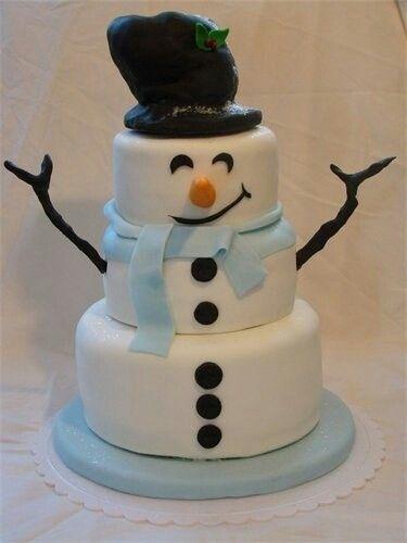 """Gâteau d'anniversaire en hiver, ou de Noël """"bonhomme de neige"""""""