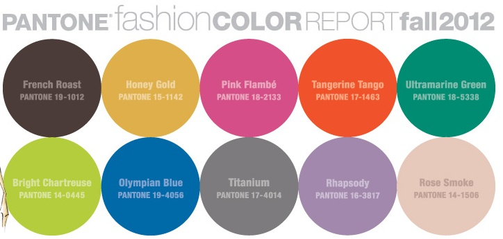 Pantone's 2012 Fall Color Pallate