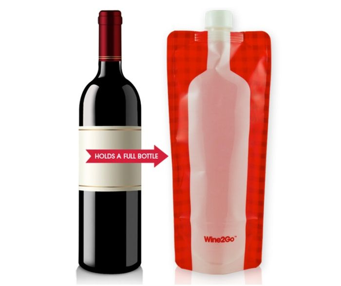 Wine2Go is a Foldable Wine Bottle Flask