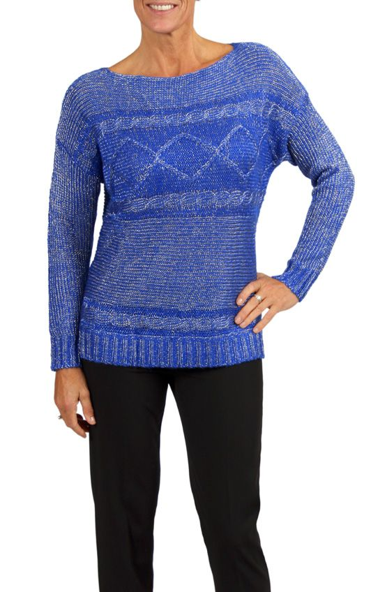Royal Cable Knit Metallic Sweater- Find it in a store near you or online (in Canada Only) at shop.cartise.com. #Sweater #Fallfashion #Boatneck #Ribbed #Cableknit #Metallic #Royal #Cartise #Coloryourlife