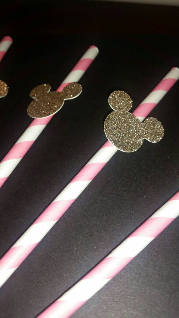 Pink and gold Minnie Mouse straws! Hey, I found this really awesome Etsy listing at https://www.etsy.com/listing/240529967/set-of-12-pink-and-gold-minnie-mouse