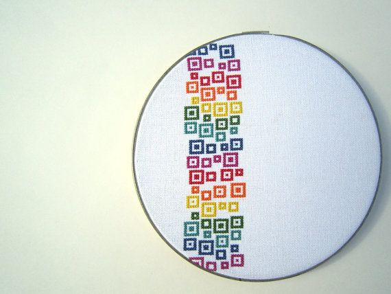 Rainbow confetti modern cross stitch from wallwork in Etsy.