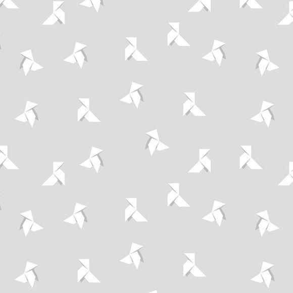 Papier peint Cocottes gris clair de Maison Leconte, idéal pour une chambre d'enfant ou une chambre de bébé dans les tons gris.