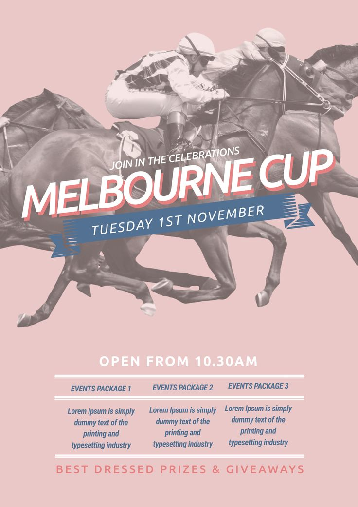 Celebrate Melbourne Cup / Spring Racing this year with this free template for your event! Use this existing template or customise it as much as you like. Visit easil.com to get started!