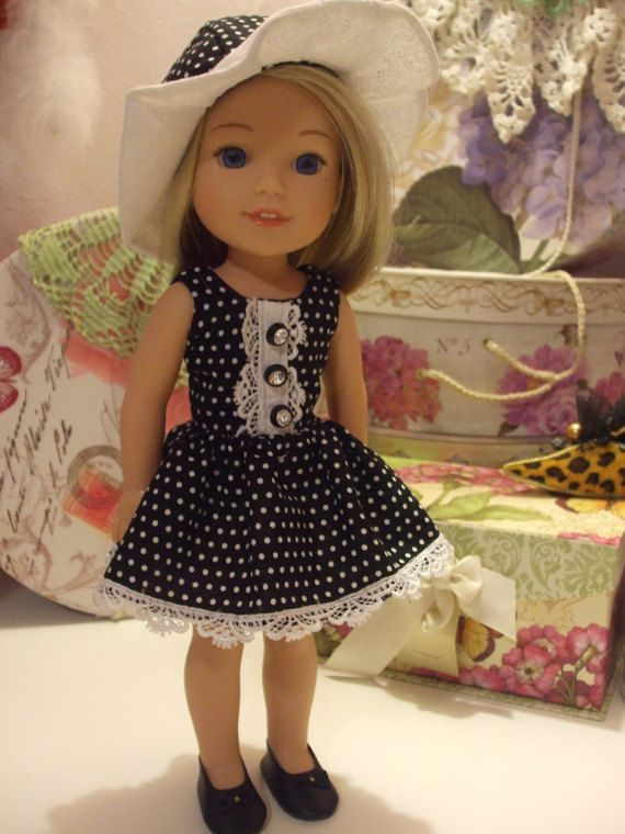 Wellie Wisher Black and White Polka Dot by SimpleDollClothes