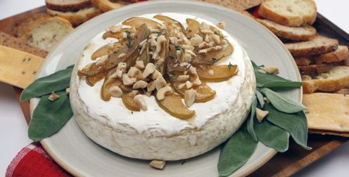 Baked Brie with Caramelized Pears. Another quick appetizer idea for parties.