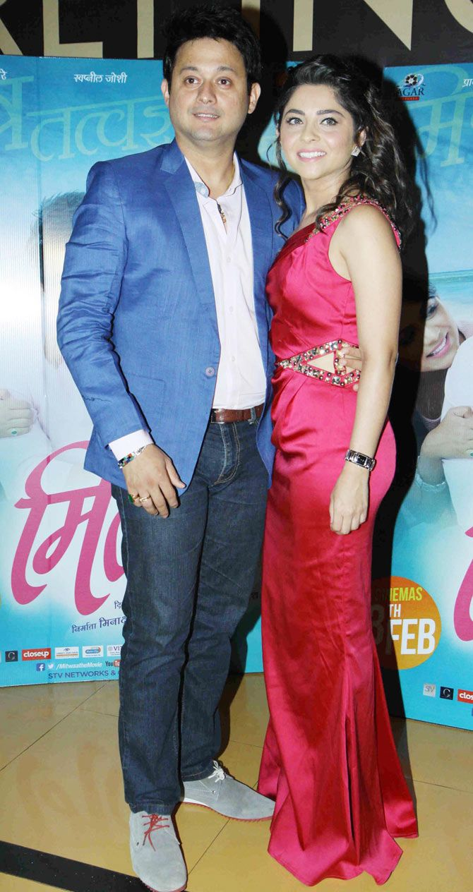 Swapnil Joshi and Sonalee Kulkarni at the screening of the Marathi film 'Mitwaa'. #Bollywood #Fashion #Style #Beauty #Marathi