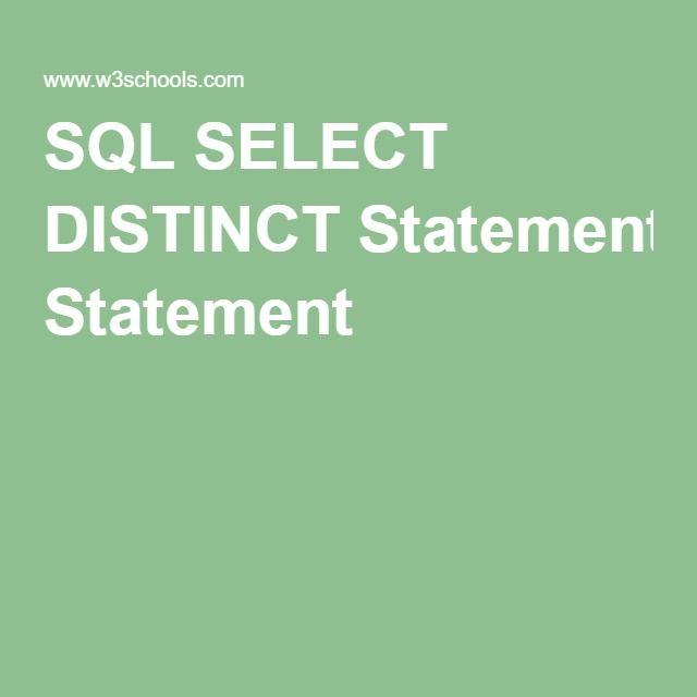 SQL SELECT DISTINCT Statement
