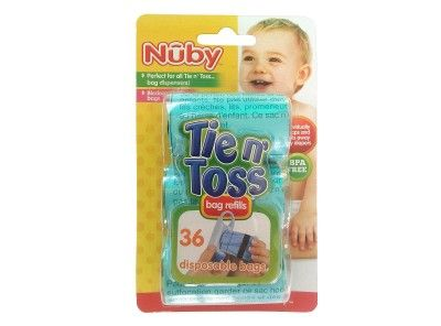 The Tie n Toss Diaper Bag Refills is another great and innovative product from Nuby. Tie n Toss Bag which is designed to individually wrap and seal away dirty diapers.