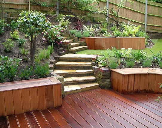 Backyard slope idea with steps modern japanese garden for Garden designs for slopes