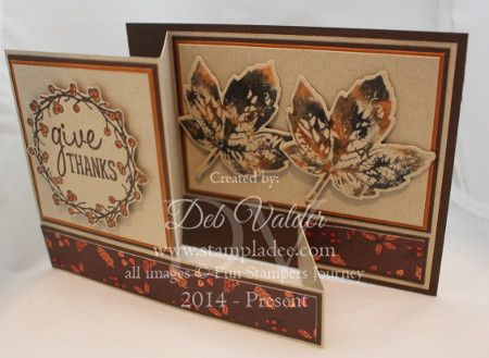 Video for this is:  https://youtu.be/xHR-SC4N4Xs Details on my blog post:  http://stampladee.com/autumn-days-fun-fold-box-card-deb-valder/