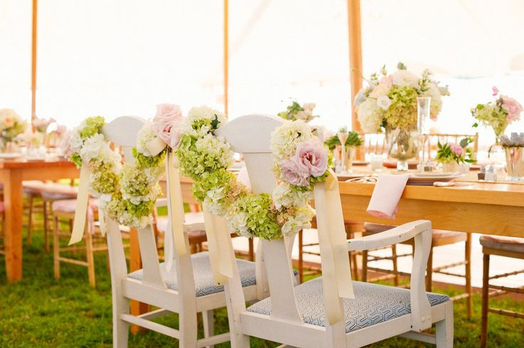 Wedding chairs with pink floral