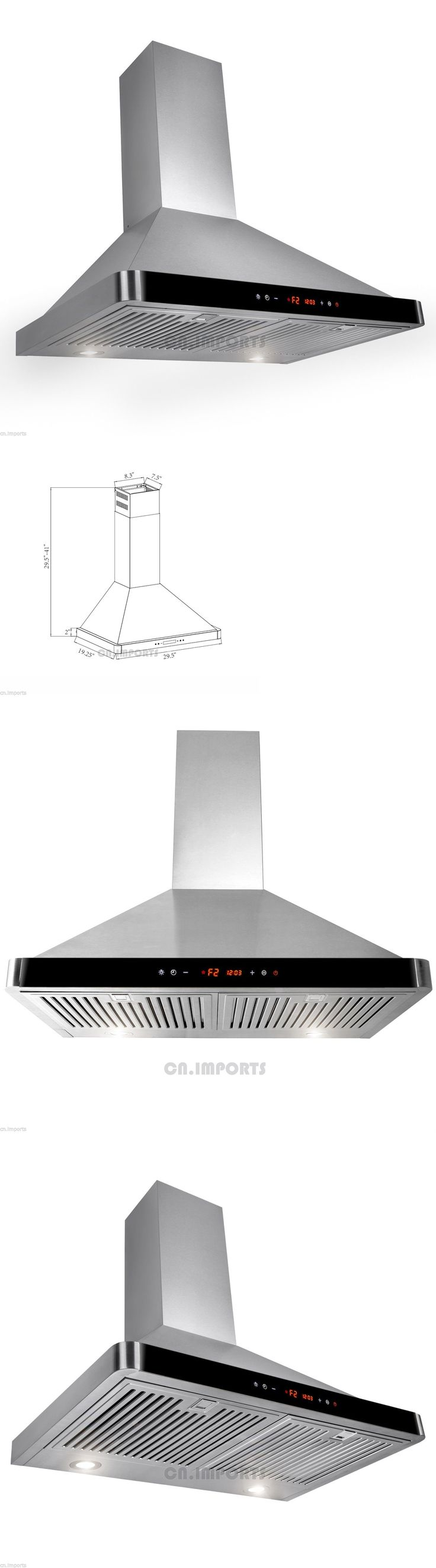 Major Appliances: 30 Stainless Steel Wall Mount Kitchen Range Hood W/ Modern Black Touch Control BUY IT NOW ONLY: $199.99
