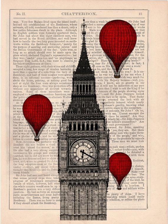 Vintage Book Print - London Big Ben Tower Balloon Ride Print on Vintage Book art. $6.99, via Etsy.