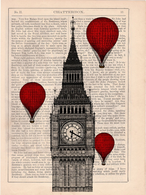 Vintage Book Print - London Big Ben Tower Balloon Ride Print on Vintage Book art. $6.99, via Etsy.