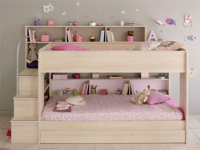 Kids Avenue Bibop 2 bunk bed with storage shelves