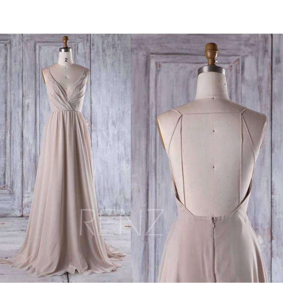 2017 Creme Chiffon Brautjungfer Kleid, tiefen V-Hals-Hochzeitskleid, Sicke Hochzeit Spitzenkleid, rückenfreie Prom Kleid voller Länge (L290)