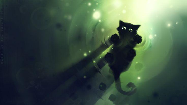 Apofiss small black cat wallpaper watercolor illustrations #9 - 1920x1080