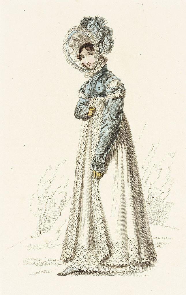1819年、イギリス、散歩用ドレスを着た女性の手彩色ファッションプレート。ハイウエストのドレスに丈の短い上着、スペンサーを着用している。スペンサーは1790年代に登場し、原型は燕尾服の尾を切り取った形状だった。 pic.twitter.com/h6vijcc4sR