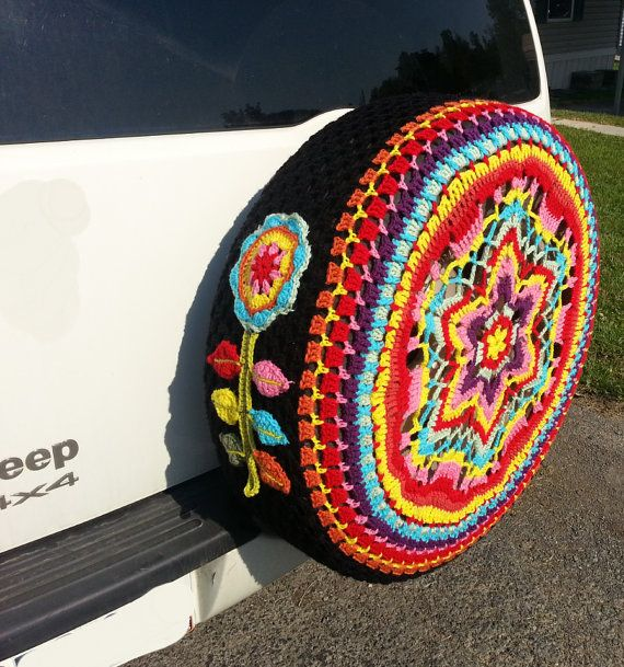 Made-to-order customizable multi-color spare tire cover! This listing is for the tire cover WITH one 3D side flower, if you would like to have the