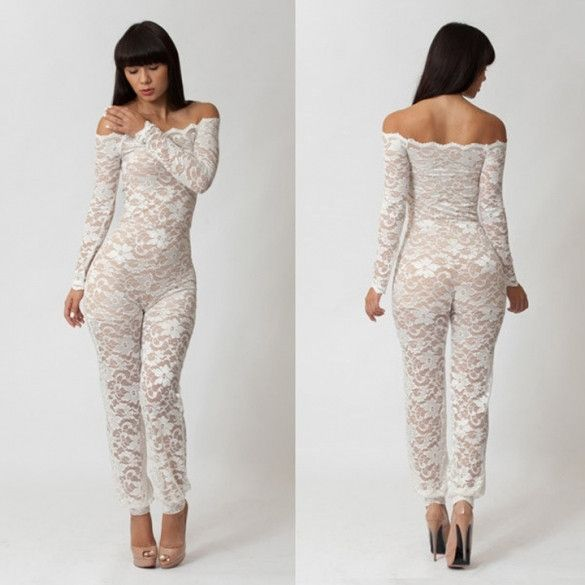 Fashion Womens Clothes Sexy Lace Evening Jumpsuit White Black Bodycon Clubwear Hollow Out