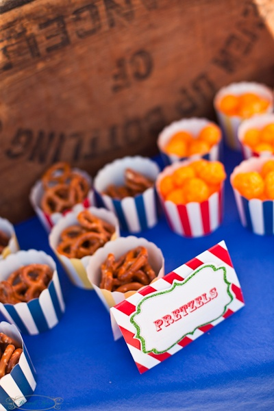 Snacks for the kiddo's from my son's carnival circus birthday party