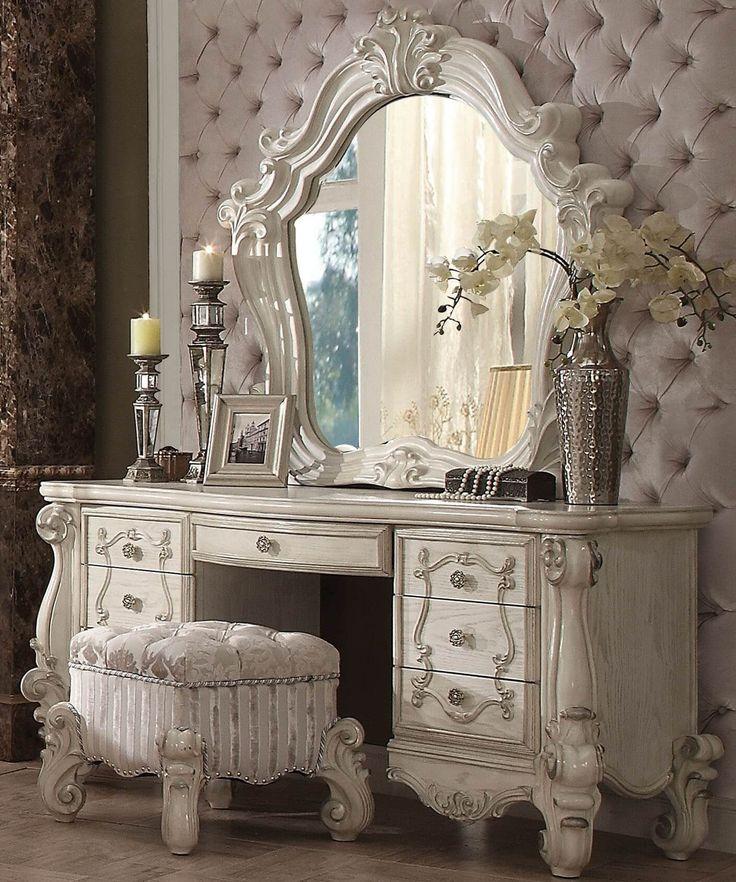 Vanity Table Shop - Brittany Bone White Vanity Table Set, $2,370.60 (http://www.vanitytableshop.com/brittany-bone-white-vanity-table-set/)
