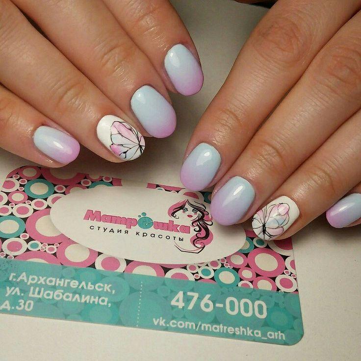Маникюр #матрешка29 #гельлак #дизайнгельлаками #дизайнногтей #бабочки
