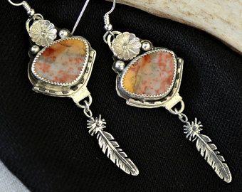 multicolor agate earrings. Southwestern earrings.