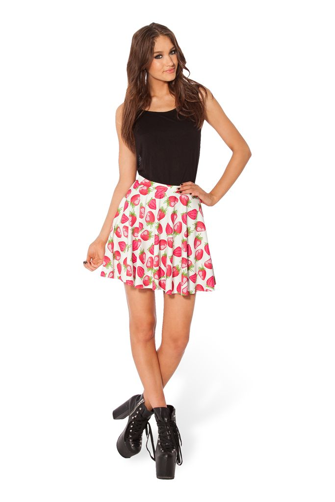 LOST PUPPIES Strawberries and Cream Skater Skirt (48HR) by Black Milk Clothing $50AUD
