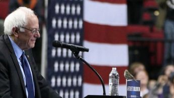 Crowd goes wild as bird lands on Sanders's podium in Portland