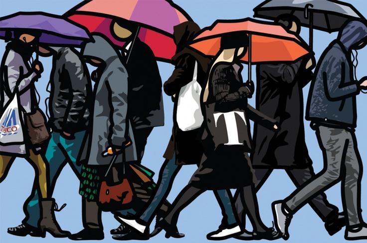Julian Opie - Walking in London in the rain.