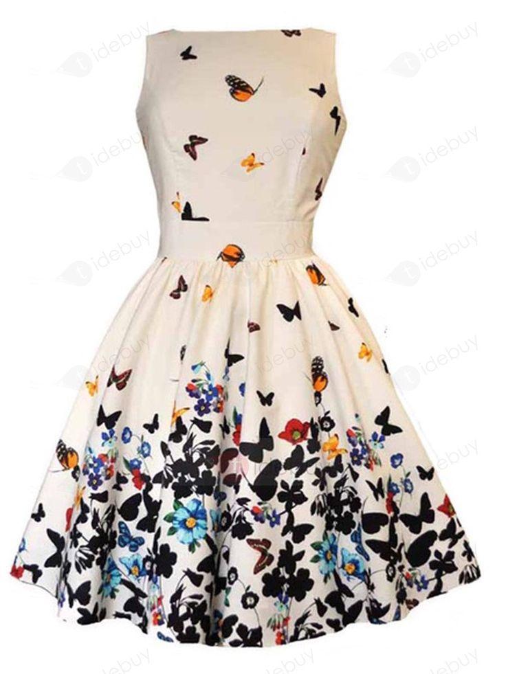 Tidebuy.com bietet hohe QualitätSchmetterling Ärmellose A-Line Falten KleidWir haben mehr Arten fürSkater Kleider