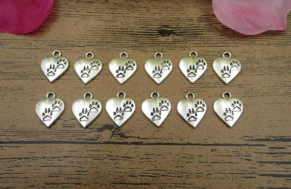 20 Heart Charms With Dog Footprints Antique Silver