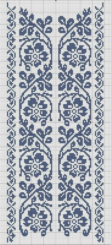 cross stitch flower border                                                                                                                                                     Más