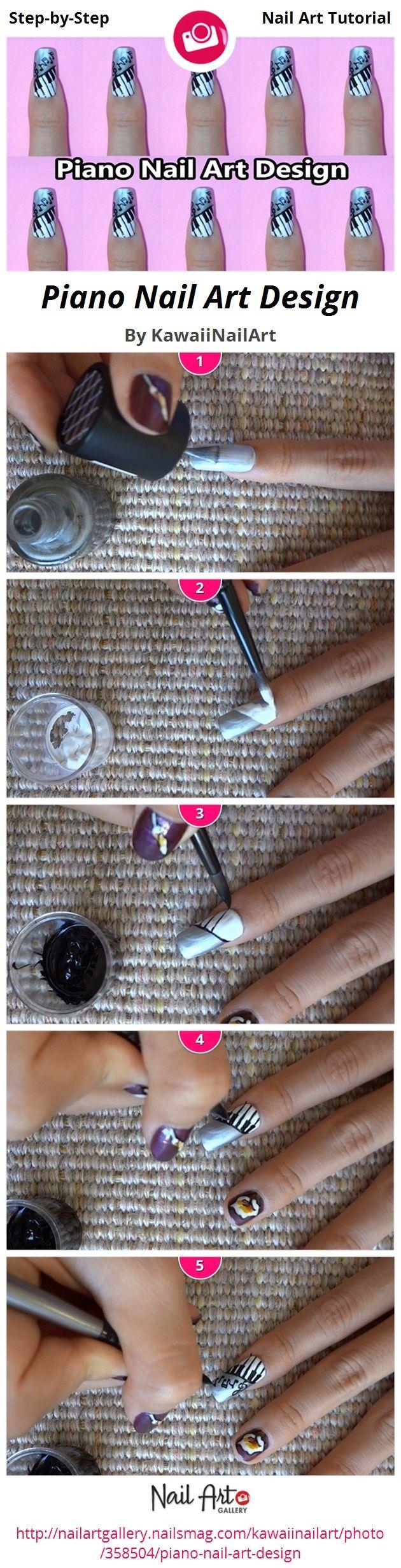 Piano Nail Art Design - Nail Art Gallery Step-by-Step Tutorial Photos