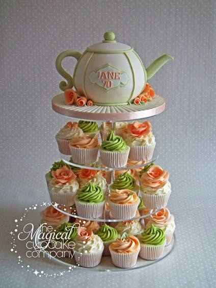 Teapot Cake Tower... Love the colors