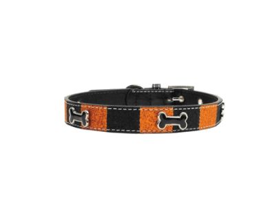 Glittery Halloween collar in a spooky combination of colors!  Riveted bone embellishments Made in the USA