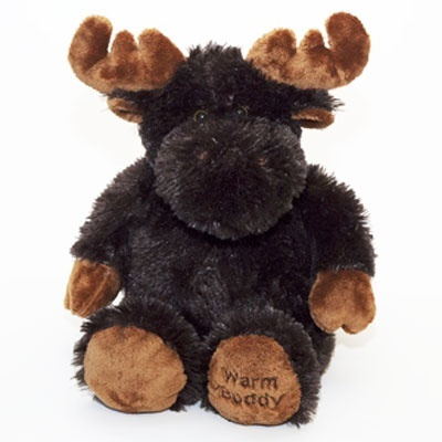 Moosey is a soft plush Canadian Moose - he warms up in the microwave. Made in Canada by Warm Buddy.