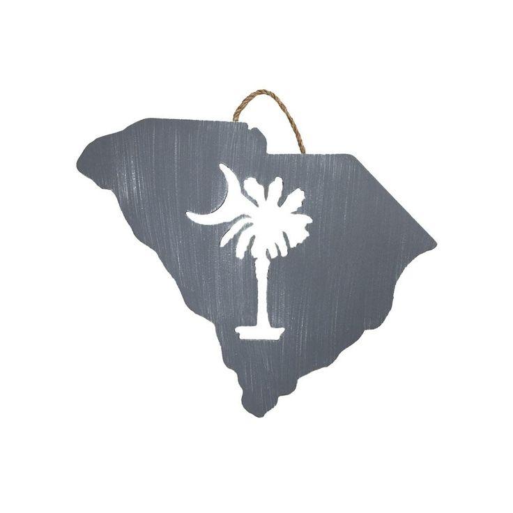 South Carolina Palmetto & Moon Cutout Sign GRAY