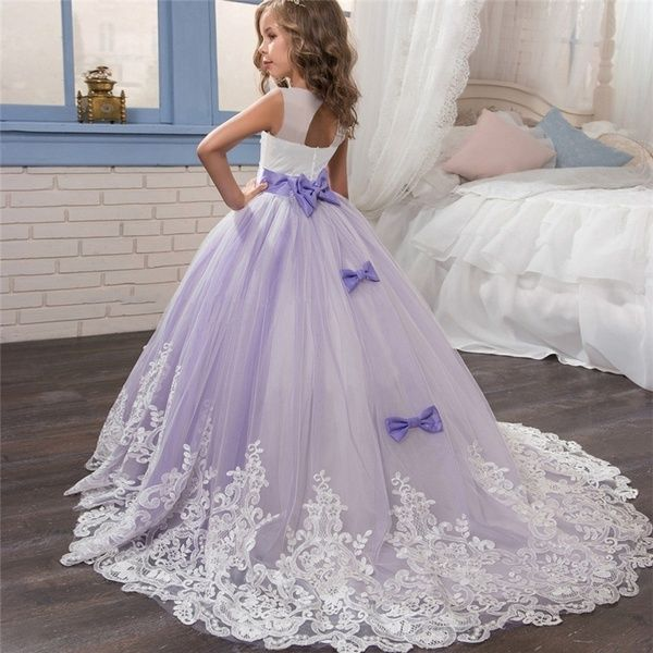 Flower Girl Dress Wedding Bridesmaid Trailing Gown Pageant Party Dresses for Kid