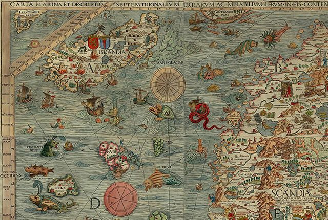 Image result for ancient maps with sea monsters