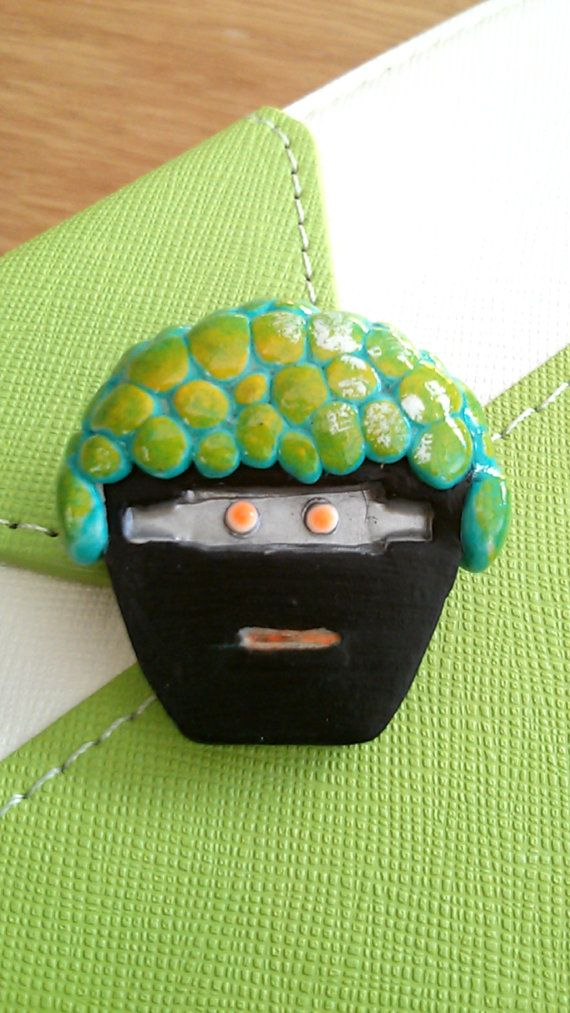Ai8 Robot Brooch Polymer Clay Pin by GeezWizStudio on Etsy