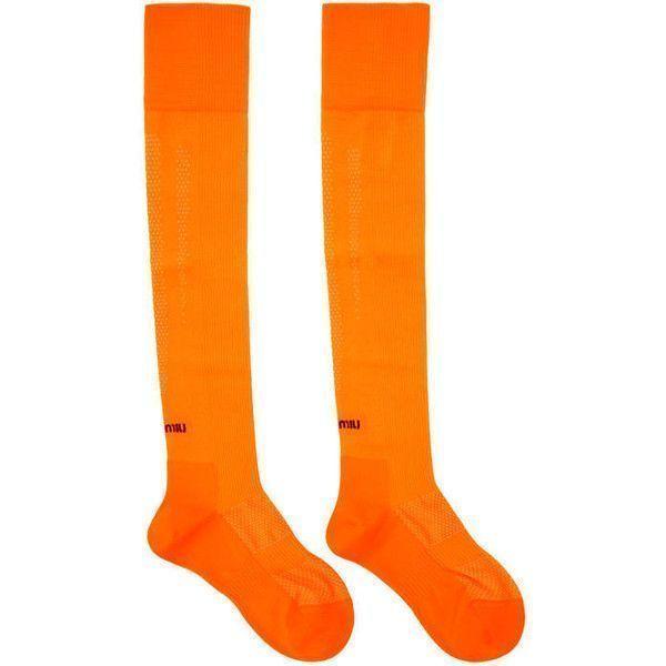 Miu Miu Orange Over-the-Knee Logo Socks ($190) ❤ liked on Polyvore featuring intimates, hosiery, socks, orange, overknee socks, neon over the knee socks, neon socks, fluorescent socks and above knee socks #miumiulogo