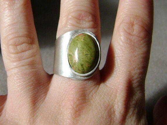 Gemstone silver ring  unakite jasper by MrsPepper on Etsy