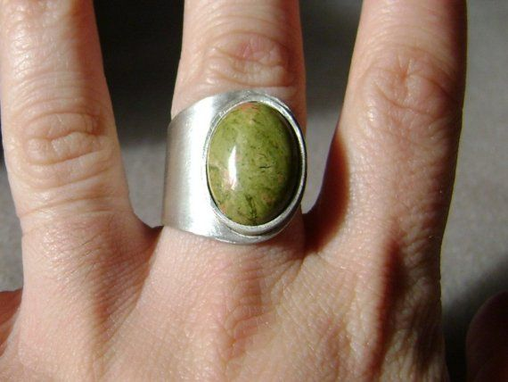 Gemstone silver ring  unakite jasper by MrsPepper on Etsy