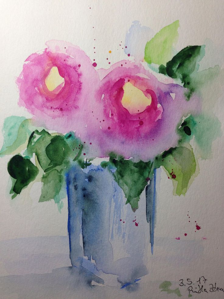 ORIGINAL AQUARELL Aquarellmalerei Kunst Blumenstrauß Bilder