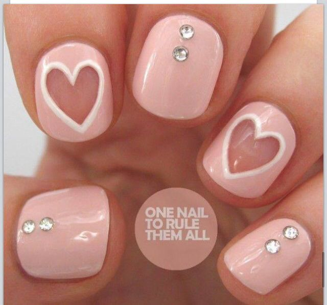 Pink summer nails...I love them but without the heart.