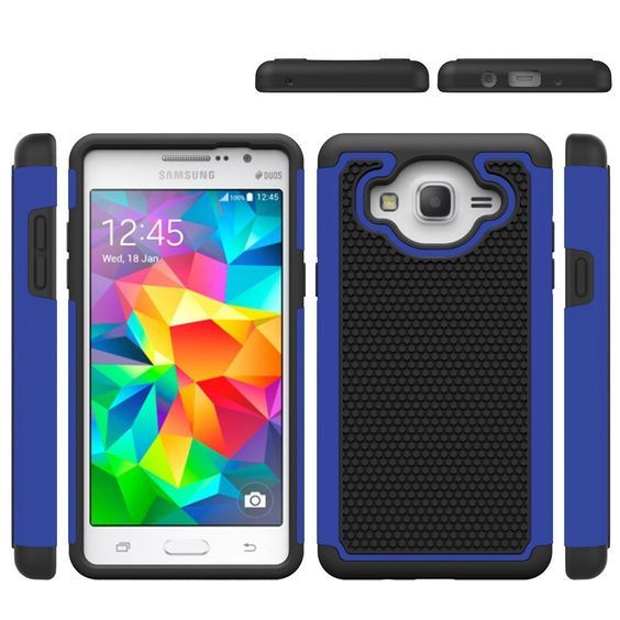 Galaxy On5 Case, E-weekly(TM) [Slim Fit] [Drop Protection] [Shock Absorption] Hybrid Dual Layer Armor Defender Protective Case Cover for Samsung Galaxy On5 / G550 W (Blue) >>> For more information, visit image link.